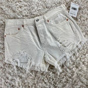 FREE PEOPLE WHITE DISTRESSED DENIM SHORTS